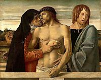 Dead Christ Supported by the Madonna and Saint John, 1460, bellini