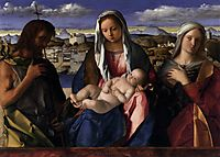 Madonna and Child with St.John the Baptist and a Saint, detail of the background waterside city, 1504, bellini