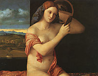 Naked young woman in front of the mirror, 1515, bellini
