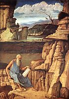 Saint Jerome Reading in the Countryside, 1480-1485, bellini