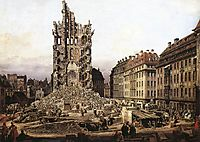 The Ruins of the old Kreuzkirche, Dresden, 1765, bellotto