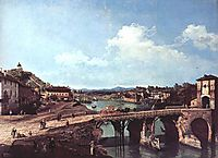 View of an Old Bridge Over the River Po, Turin, 1745, bellotto
