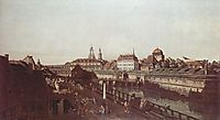 View of Dresden, the Dresden fortifications, moat with a bridge between gate and post mile pillar Wilsche, c.1750, bellotto
