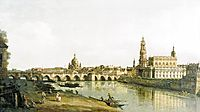 View of Dresden from the Right Bank of the Elbe with the Augustus Bridge, 1748, bellotto
