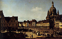 View of the New Market Place in Dresden from the Moritzstrasse, 1751, bellotto