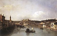 View of Verona and the River Adige from the Ponte Nuovo, c.1747, bellotto