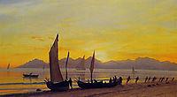 Boats Ashore at Sunset, bierstadt