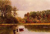 Cows Watering in a Landscape, bierstadt