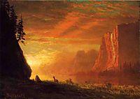 Deer at Sunset, bierstadt