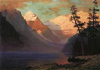 Evening Glow, Lake Louise, bierstadt