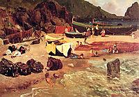 Fishing Boats at Capri , 1857, bierstadt