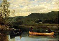 Men in  Two Canoes, bierstadt