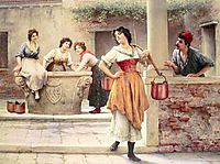 Flirtation at the Well, 1902, blaas