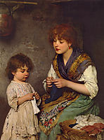 The Knitting Lesson, 18, blaas