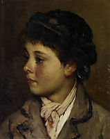 Portrait of a young boy, 18, blaas