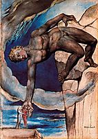 Antaeus setting down Dante and Virgil in the last circle of hell, 1827, blake