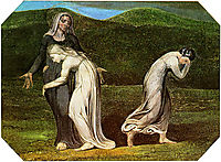 Naomi entreating Ruth and Orpah to return to the land of Moab, 1795, blake