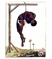 A Negro Hung Alive by the Ribs to a Gallows, 1796, blake