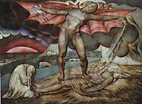Satan smiting Job with boils, 1826, blake