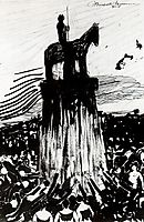 Agitate Crowd Surrounding a High Equestrian Monument, 1908, boccioni