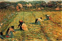 Farmers at work (Risaiole), 1908, boccioni