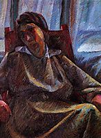 Plastic synthesis - seated person, 1915, boccioni