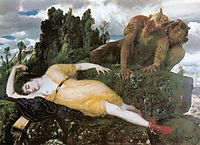 Diana sleeping with two fauns, 1877, bocklin