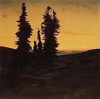 Fir trees at sunset, bocklin