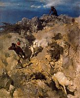Pan frightening a shepherd, bocklin