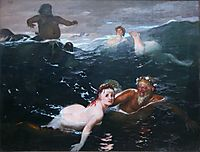 Playing in the Waves, 1883, bocklin