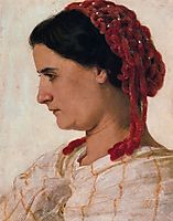 Portrait of Angela Böcklin in red fishnet, bocklin