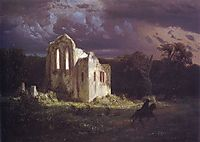 Ruins in the moonlit landscape, 1849, bocklin