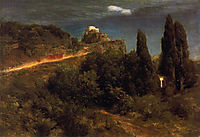 Soldiers amount towards a mountain fortress, bocklin