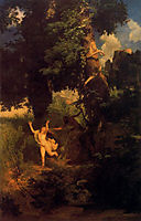 Syrinx fleeing from the onslaught of Pan, bocklin