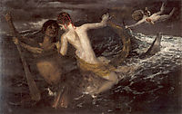 Triton carrying a nereid on his back, 1875, bocklin