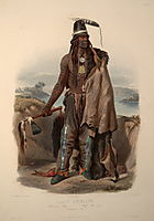 Abdih- Hiddisch. A Minatarre Chief, plate 24 from Volume 1 of -Travels in the Interior of North America-, 1834, bodmer
