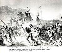 Assiniboin and Cree warriors attack Blackfeet, bodmer