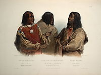 Chief of the Blood Indians, War Chief of the Piekann Indians and a Koutani Indian, plate 46 from Volume 2 of -Travels in the Interior of North America-, 1844, bodmer