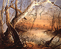 Confluence of the Fox River and the Wabash in Indiana, 1832, bodmer