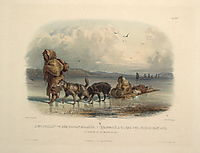 Dog Sledges of the Mandan Indians, plate 28 from Volume 2 of -Travels in the Interior of North America- , bodmer