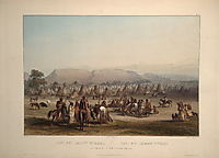 Encampment of the Piekann Indians, plate 43 from Volume 2 of -Travels in the Interior of North America-, 1844, bodmer