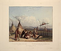 Funeral Scaffold of a Sioux Chief near Fort Pierre, plate 11 from Volume 2 of -Travels in the Interior of North America-, 1844, bodmer