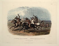 Horse Racing of Sioux Indians near Fort Pierre, plate 30 from Volume 1 of -Travels in the Interior of North America-, 1843, bodmer