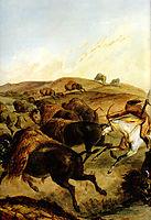 Indians Hunting The Bison [ Left ], 1832, bodmer