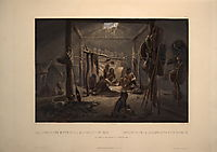 The Interior of a Hut of a Mandan Chief, plate 19 from Volume 2 of -Travels in the Interior of North America-, 1844, bodmer