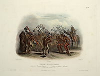 Ischohä Kakoschochatä Dance of the Mandan Indians, plate 25 from Volume 2 of -Travels in the Interior of North America-, 1843, bodmer