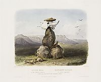 Magic Pile Erected by the Assiniboin Indians, plate 15 from Volume 1 of -Travels in the Interior of North America-, 1843, bodmer