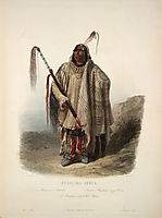 A Minatarre or Big bellied indian, plate 17 from Volume 2 of -Travels in the Interior of North America-, 1843, bodmer
