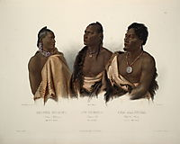 A Missouri Indian, an Oto Indian and the Chief of the Puncas, plate 7 from -Travels in the Interior of North America-, 1844, bodmer