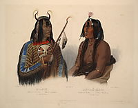 Noapeh, an Assiniboin Indian and Psihdja-Sahpa, a Yanktonan Indian, plate 12 from Volume 2 of -Travels in the Interior of North America-, 1844, bodmer